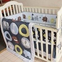4 Pcs 100% Cotton Baby Cot Bedding Set Newborn Cartoon Zoo Crib Bedding Detachable Quilt Pillow Bumpers Sheet Cot Bed Linen