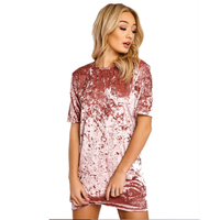 Short Sleeve Velvet Short Casual Women Dress 2017 New Fashion Women Clothing