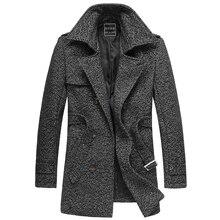 Плюс размер М-XXXXXXL 2015 новый зима мужчины шерстяное пальто средней длины бренд двубортный лацкане случайный шерстяной куртке М-6XL H1924