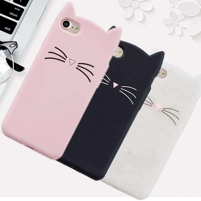 Hot penjualan! 3D Lucu Kucing Kasus Telepon Silikon lembut Kasus Gel Penutup Untuk LG Q6 Q6a M700N M700A Shell Untuk LG Q6