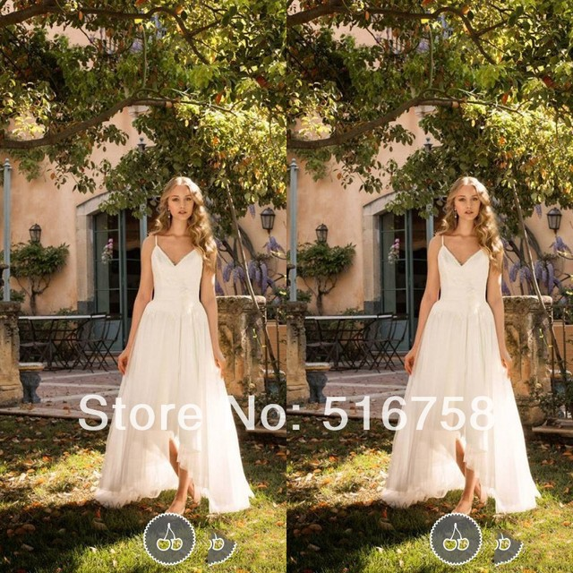 c48fa044ac3 Free Shipping V-neck Spaghetti Straps High Low Flowy Chiffon Long Casual  Beach Wedding Dresses