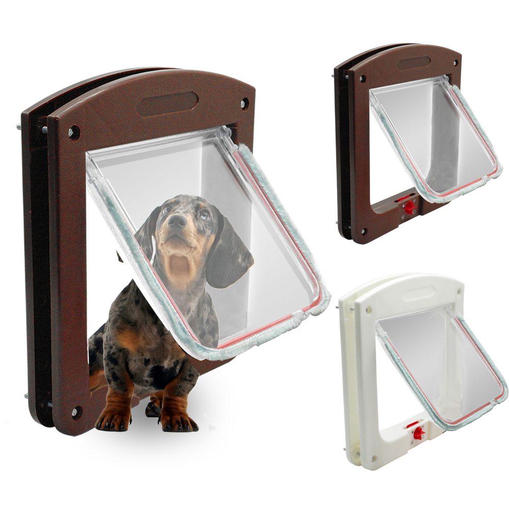 4 Way Safe Lockable Cat Dog Door Small Dog Kitten Lock Flap Pet Tunnel White Brown Plastic Animal Small Pet Cat Dog Gate