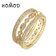 HOMOD 3pcs Finger Ring Sets Wholesale Fashion Women Engagement Ring for Women Gold-color Full Round Zircon Ring Wedding Jewelry недорого