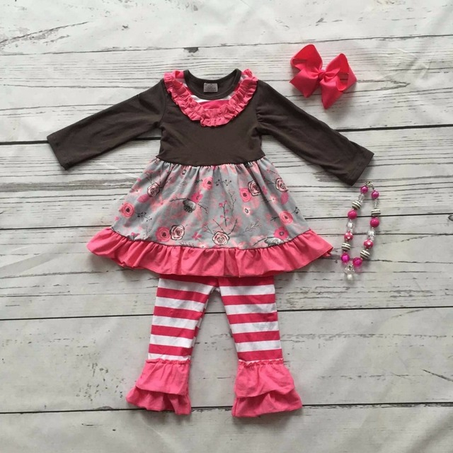 baby girls Fall  winter outfits kids hot pink stripes clothes pant ruffle  floral cotton milk silk clothing matching accessories 1f796e25f9