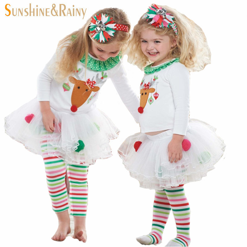 Clearance Cute Deer Baby Girl Christmas Clothes Long