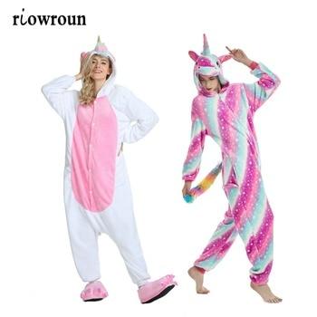 Adult Kigurumi Anime Halloween Cosplay Unicorn Costume Onesie Women Costumes Cartoon Animal Sleepwear Stitch Winter - discount item  48% OFF Costumes & Accessories