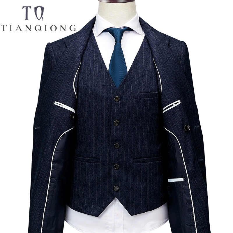 ジャケット + パンツ + ベストメンズダブルブレストスーツ 2018 スリムフィット縦縞スーツ男性高級ウェディングドレスブレザースーツ男性