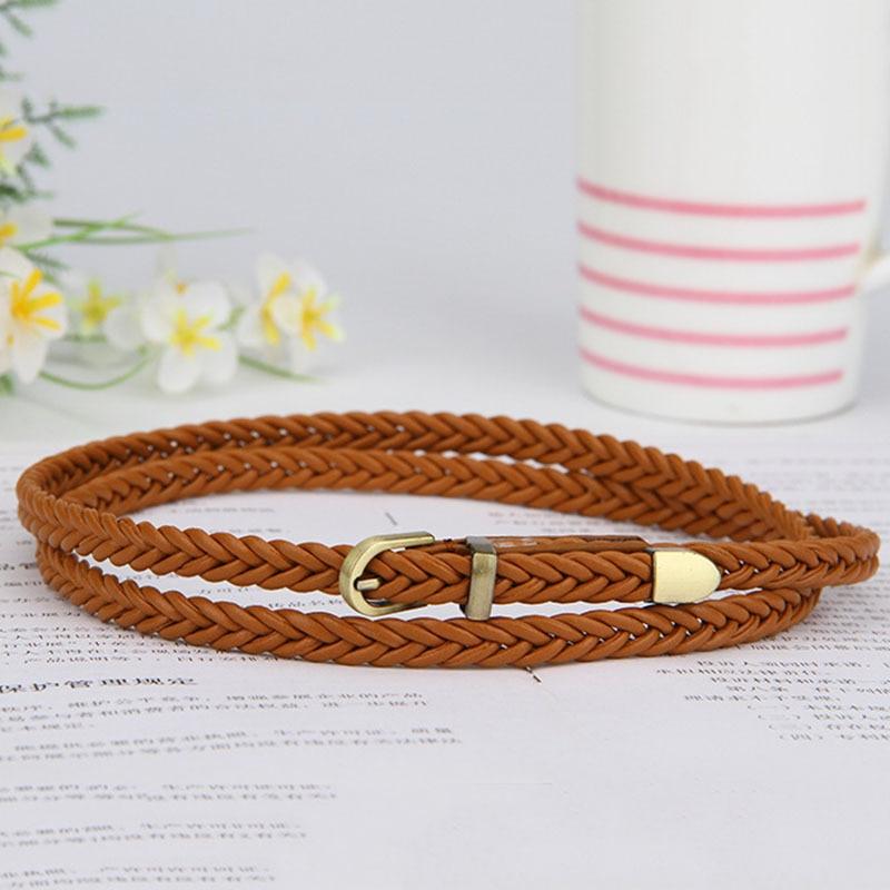 -Hebilla de las mujeres de la moda tejido de cuero de la PU cinturón elástico trenzado cinturones para vestidos de las mujeres de la correa