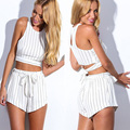 Scolour 2016 Women Summer Fashion Chiffon Striped straps fit Sleeveless 2 Piece Set playsiut Jumpsuits Vestido Free Shipping