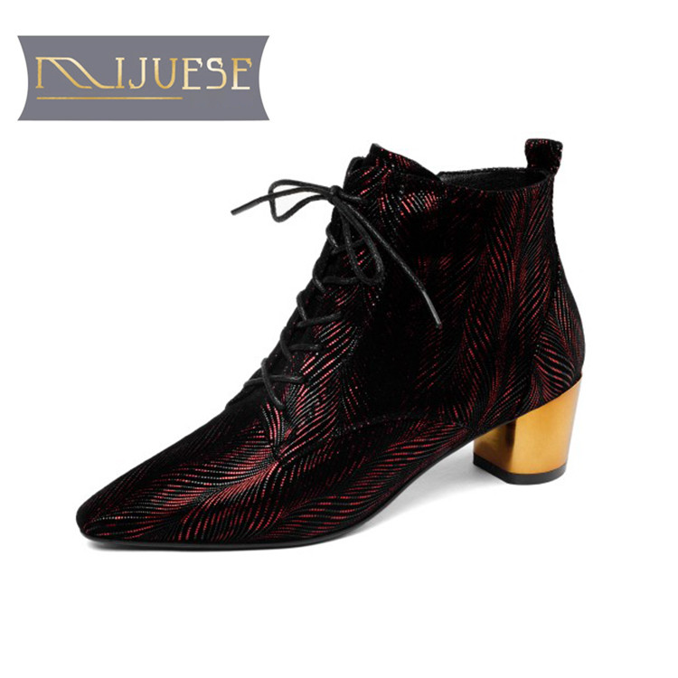 MLJUESE 2019 women ankle boots cow leather lace up gun color pointed toe winter warm fur