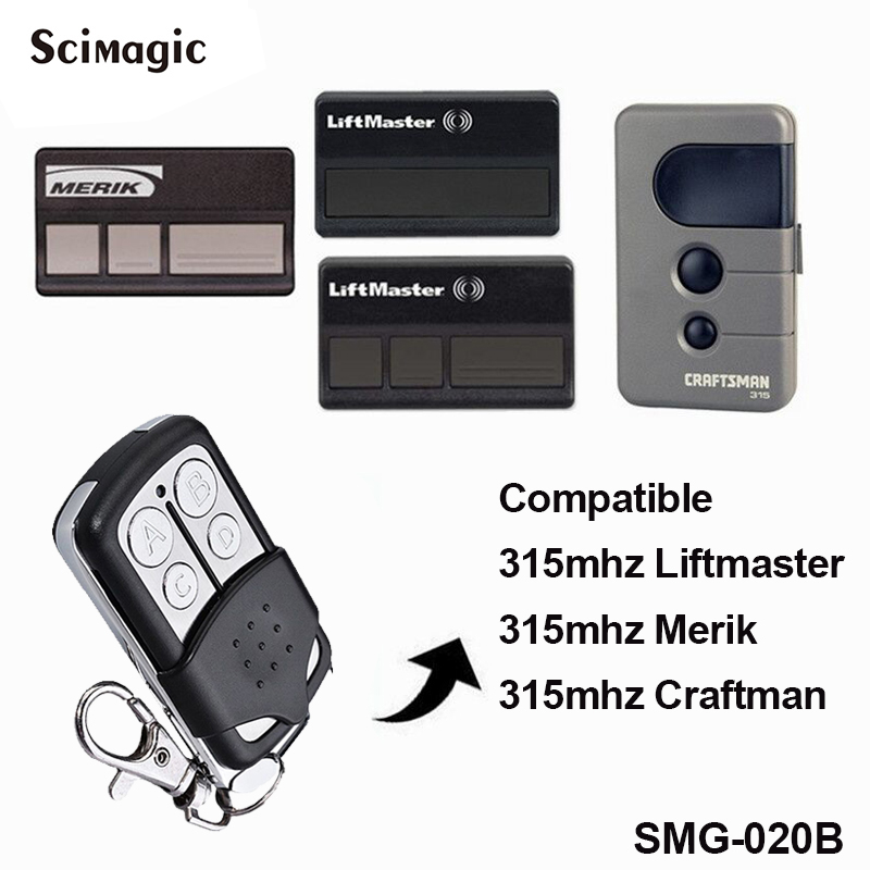 Liftmaster Craftman Chamberlain 315mhz Merik Replacement Remote Control Garage Door Opener Handheld Transmitter Gate Command