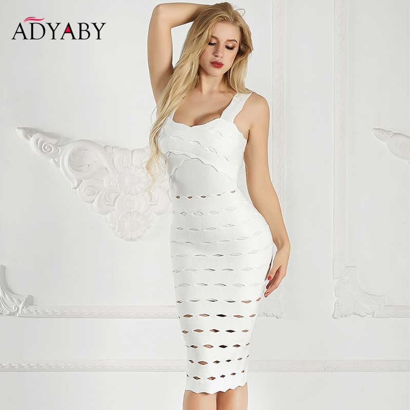 Vestidos de tirantes finos Mujer verano 2019 vendaje blanco Bodycon Midi vestido con espalda abierta Celebrity Night Club Party Dress