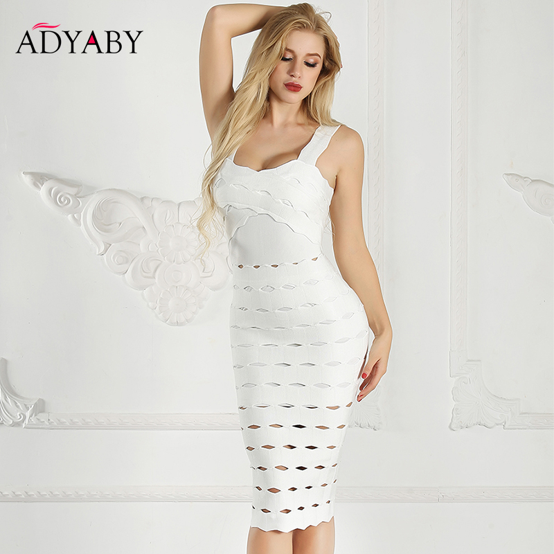 Spaghetti Strap Dresses Women Summer 2019 White   Bandage Bodycon Midi Dress With Open Back Hollow Out Night Club Party Dress