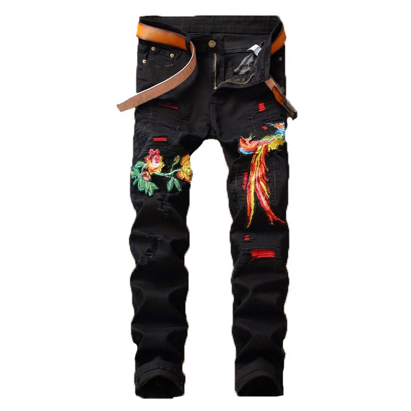 High Quality Mens Skinny Black Jeans New Fashion Men Spring Embroidery Denim Jeans Men Holes Slim Long Jeans