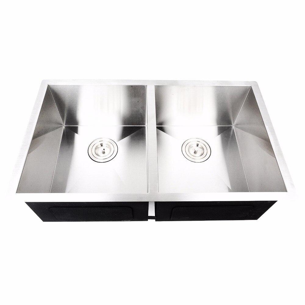 Mayitr Kommerziellen Doppel Schüssel Küchenspüle Unterbau Silber ...
