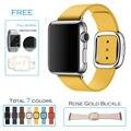 Urvoi moderna fivela banda para apple watch série 1 2 pulso/correia/cinto suave top-grão couro com fecho magnético 7 cores