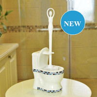 Cute Toilet Brush Holder Set For Bathroom Bath Creative Ceramic Closestool Shape Brush Holder With Plastic