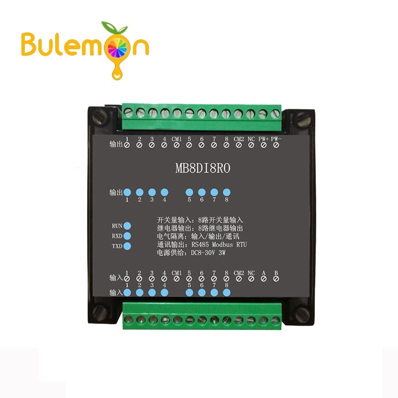 8DI/8RO 8 дорожный цифровой вход изоляции 8 дорожно-реле цифровой выход Модуль сбора данных RS485 Modbus связи