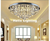 Free Shipping LED Ceiling Light Fixture Modern Clear K9 Crystal LED Ceiling Lamp Round Flush Mounted Lighting Fitting Lustres