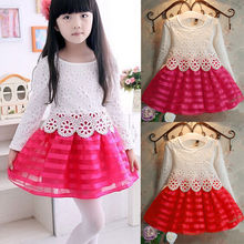 Girls Flower Lace Dress Bridesmaid Wedding Formal Pageant Party Crochet Dresses