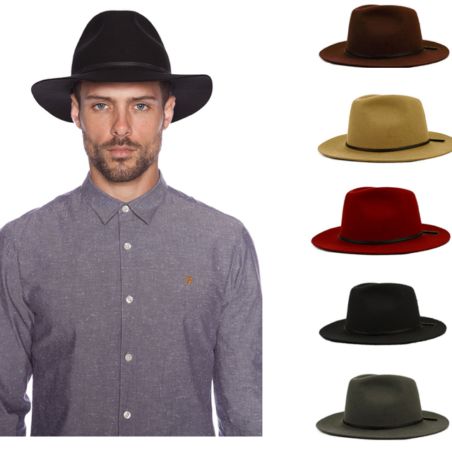 6fe6d068647 Fashion 100% Wool Summer Women's Men's Crushable Genuine Felt Fedora Bush  Sun Hat Trilby Gorra Toca Sombrero with leather band