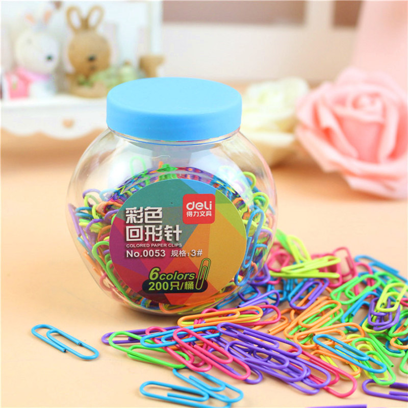 Creative 200pcs/box Kawaii Six Candy Colors Metal Clips Korean Stationery Paper Clips Pin Binding Clips School Office Supplies deli new colorful candy paper clips 200pcs a barrels office stationery metal clips box pin binding supplies learn student clips