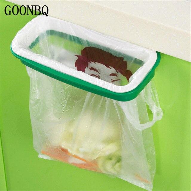 US $1.96 33% OFF|GOONBQ 1 stück Küche Mülleimer Tasche Rack Kunststoff  Schrank Tür Zurück Müll Müllsack Hängen Müll Tasche Lagerregal ...