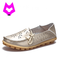 Plus Size35 44 Shoes Woman Ballet Flats Cut Out Women Loafers Genuine Leather Zapatillas Mujer Casual