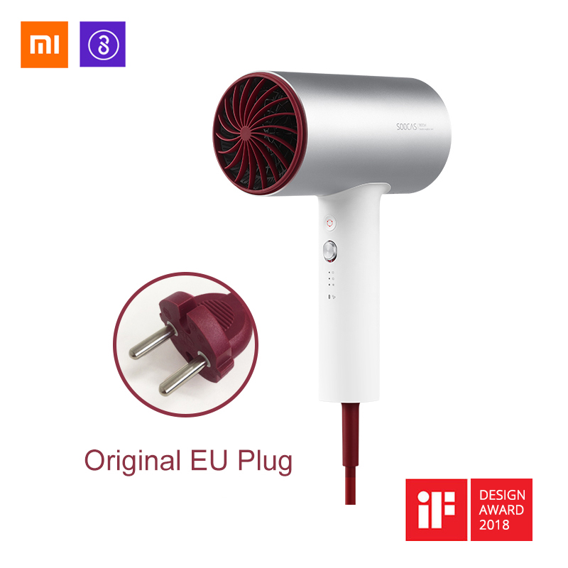 Xiaomi Soocas H3S Anion Hair Dryer Original Aluminum Alloy Body 1800W Dual layer anti heat nozzle