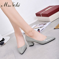 Ms Noki Spring Silver Women Pumps Shallow Ladies Spring Casual Shallow Pink Pu Shoes Classics Female