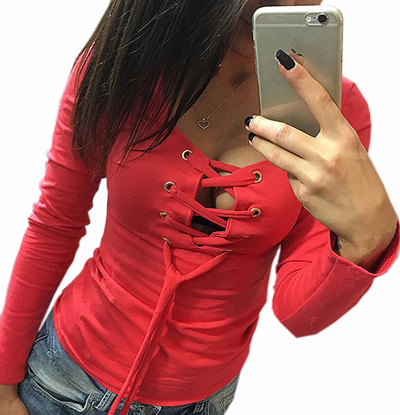 2017 Sexy Bandage T shirt Lace Up Long Sleeve TShirts Women Deep V T-Shirt Spring Female Casual Sexy Tops Overall 5 Colors LX068
