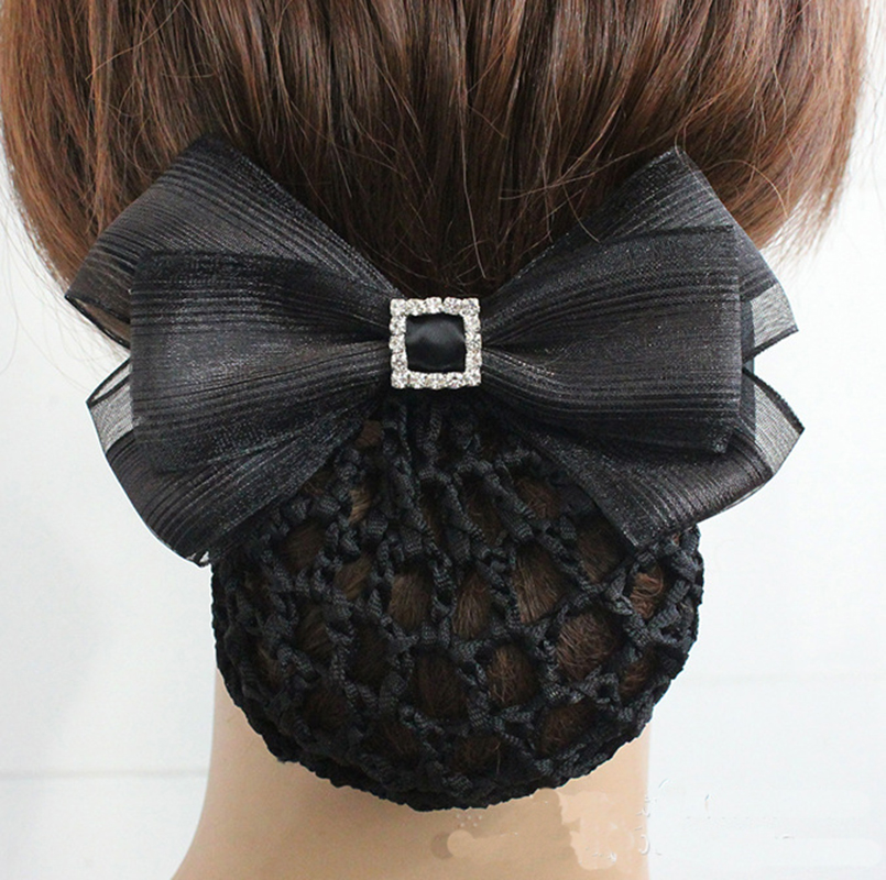 Us 2 44 30 Off Fashion Handmade Office Lady Bow Pearl Tie Barrette Lace Hair Clip Cover Bowknot Net Bun Deep Snood For Long Hair Hair Accestory In
