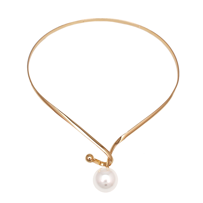 Alloy Torques Simulated Pearl Pendants Necklaces For Women Simple Design Statement Metal Collar Choker Necklace Jewelry UKMOC 2