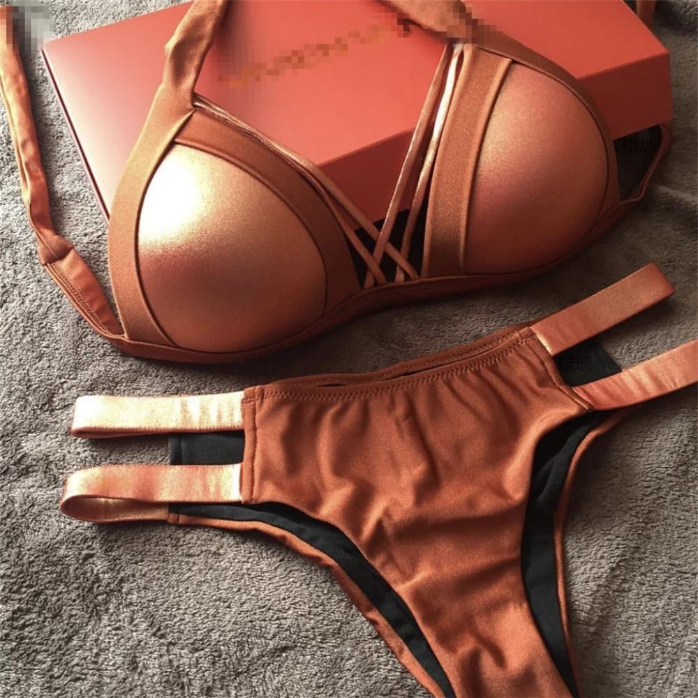 Women Sleeveless Shell Decoration Lace-Up Bikini Set Swimwear EA9