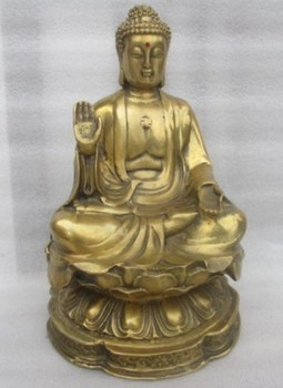 8.66 inch / Elaborate Chinese copper manual Buddha sitting on the lotus Buddha statue