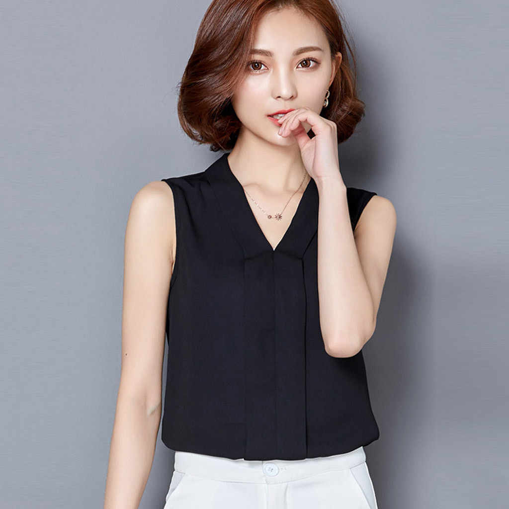 Streetwear Blouses Woman 2019 Camisas Mujer Women Brief Office Work Wear V Neck Shirts Sleeveless Chiffon Casual Tops haut femme