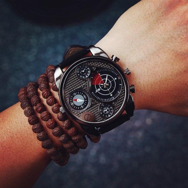 e2498681c0ae Dial grande reloj de oro Metrosexual estudiantes varones moda Retro reloj  del cuarzo militar Relogios envío