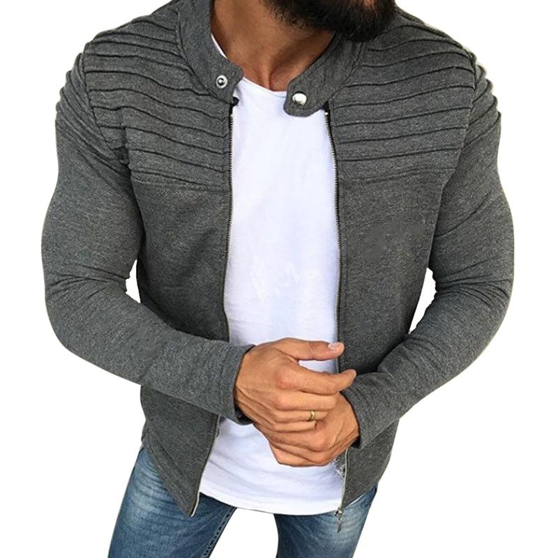 CYSINCOS Jacket Men Winter 2019 Autumn Streetwear Windbreaker Mens Clothing Pleats Slim Stripe  Raglan Zipper Long Sleeve Coats