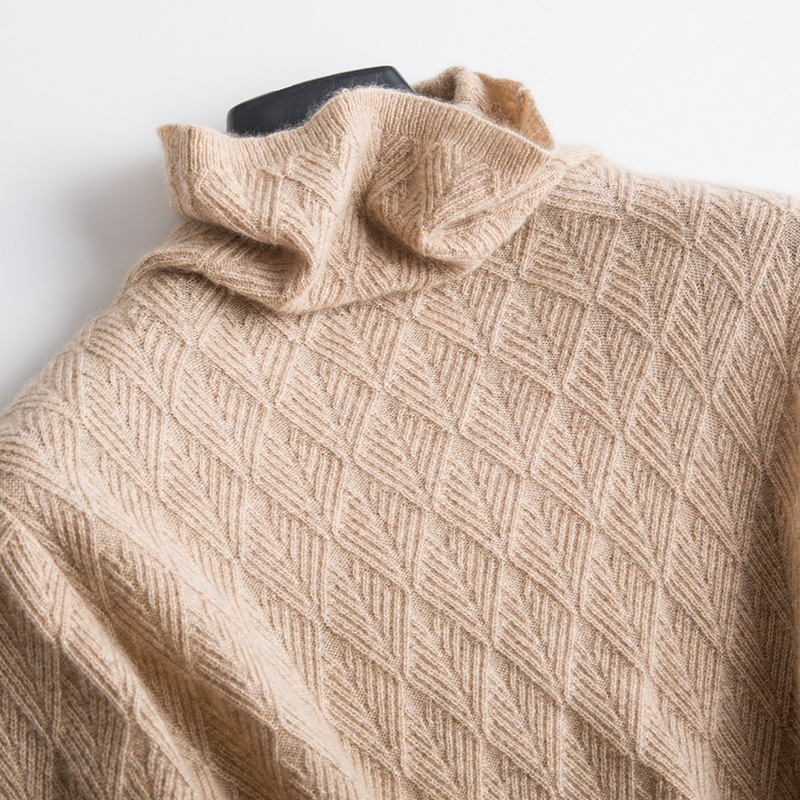 2018 Women Turtleneck Wool Sweaters Autumn-Winter Women Warm Wool Geometric Knitted Fashion Sweaters Casual Pullovers Female