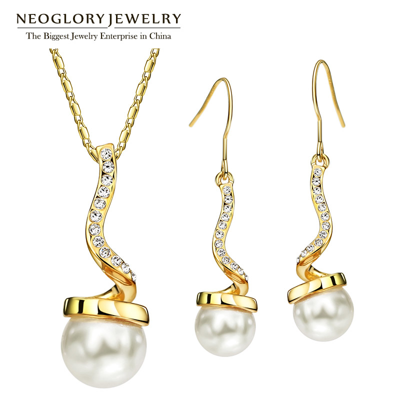 Neoglory Jewelry-Sets Necklaces-Earrings Pearl Rhinestone Birthday-Gifts Women with Austria