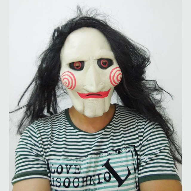 Us 14 0 Scary Saw Masks Cosplay Movie Latex Mask Long Black Hair Horror Halloween Party Man Costume In Party Masks From Home Garden On