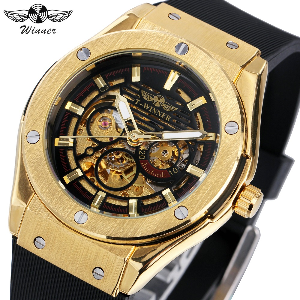 WINNER Men Watches 3 Dial Golden Metal Series Top Luxury Brand Automatic Watch Luxury Brand Mechanical Skeleton Male Wrist Watch