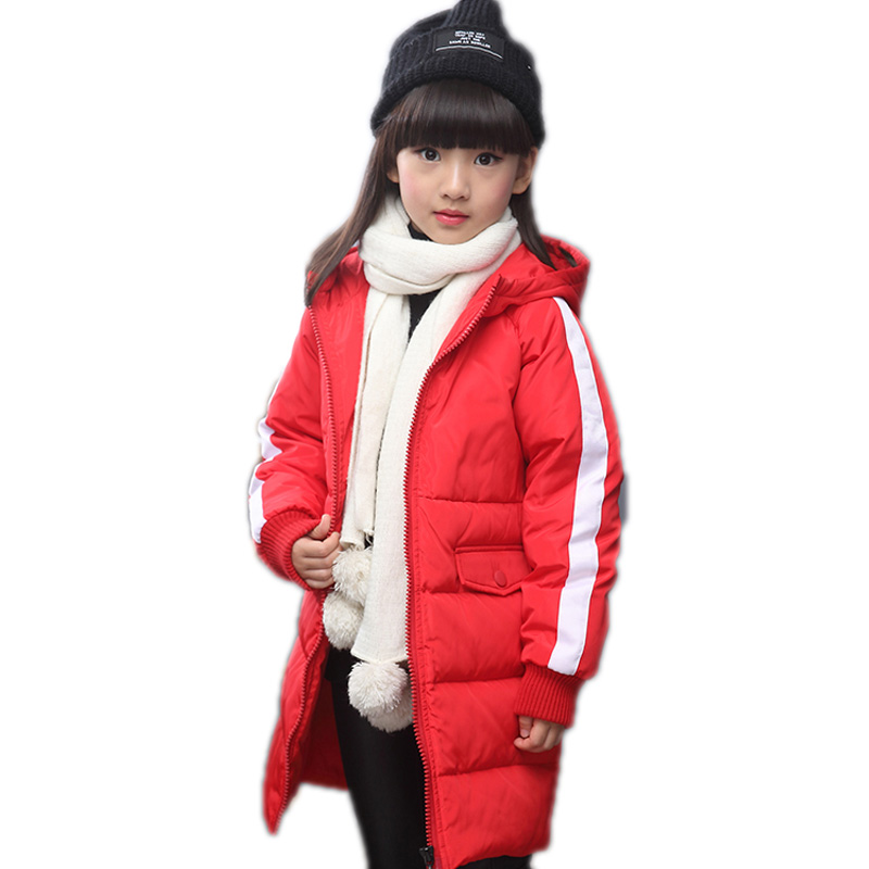baby girl winter jacket 2016 new baby girl coats medium long hooded down jackets for girls thicken warm solid kids parkas 5-11T 2015 new mori girl wave raglan hooded loose sleeve medium long wadded jacket female