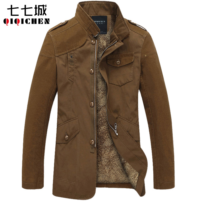 good quality Men's winter warm jacket coat Plus velvet thickening cold-proof fashion Stand up collar slim coat pilot jacket