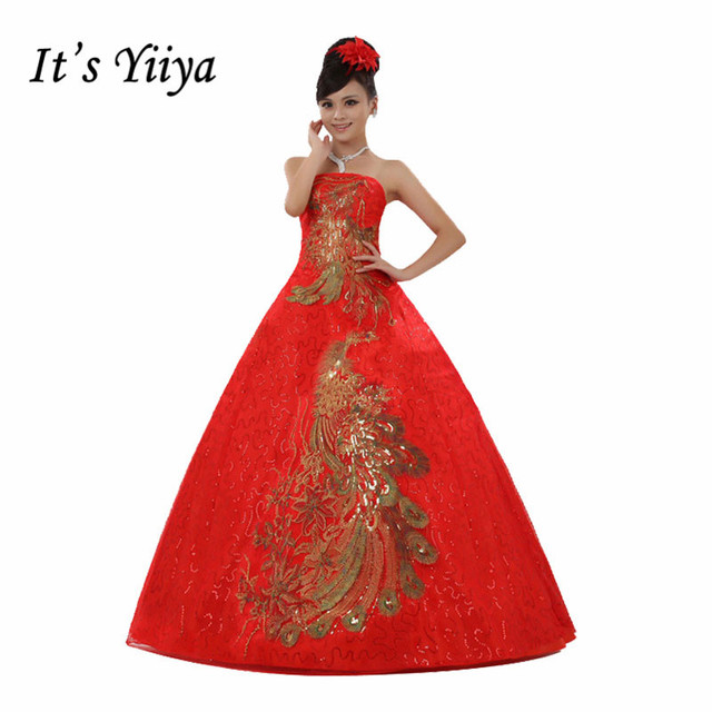 Free shipping 2017 New Red with Golden Wedding Dresses Strapless