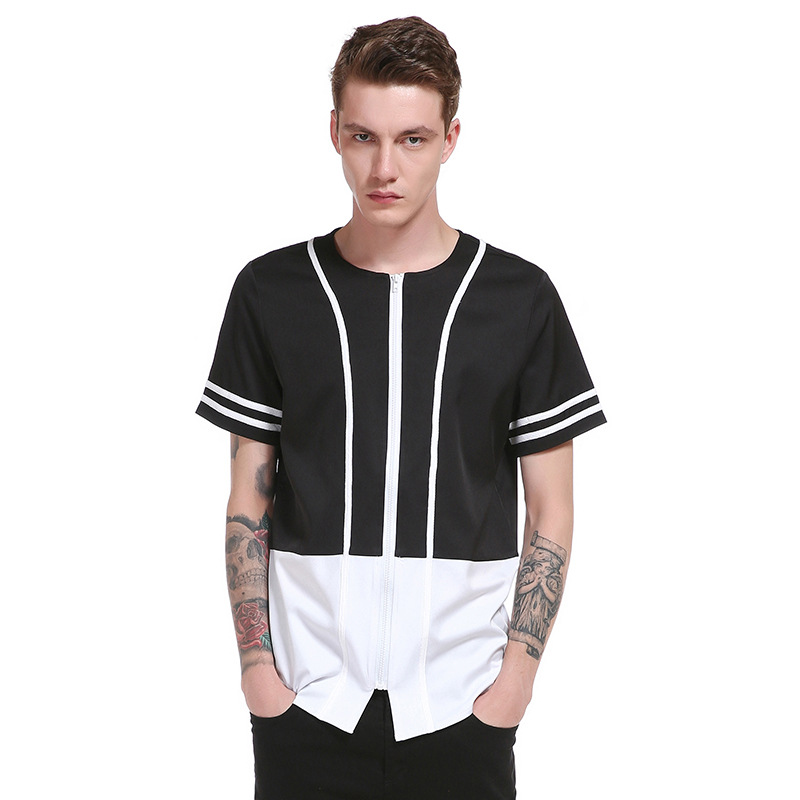2017 New Summer Fashion Brand T Shirt Men 39 S Europe And The United States Simple Black And White Striped Lapel Short Sleeve Tees in T Shirts from Men 39 s Clothing