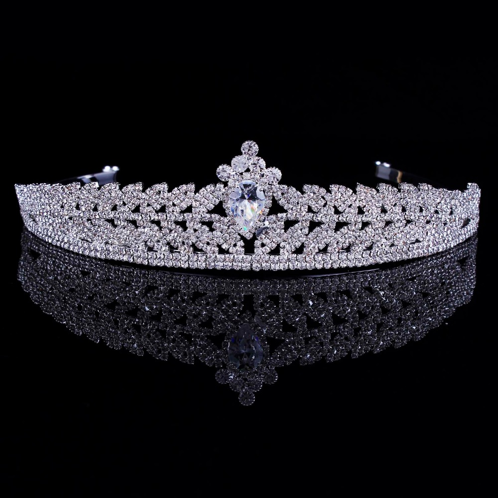 New Arrival Stunning Vintage Clear Cubic Zircon Wedding Tiara CZ Bridal Queen Princess Pageant Royal Party Crown