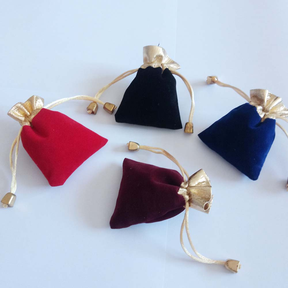 500pcs Phnom Penh Gold Bead Velvet Bag Jewellery Pouch Gift Bags Wedding Drawstring Bag Woman Jewelry
