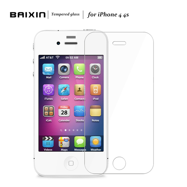 Baixin For Apple iPhone 4 4s Tempered Glass For iPhone 4 4s Screen  Protector Glass For iPhone4 2.5D 9H Protective Film Cover eed7680e3a