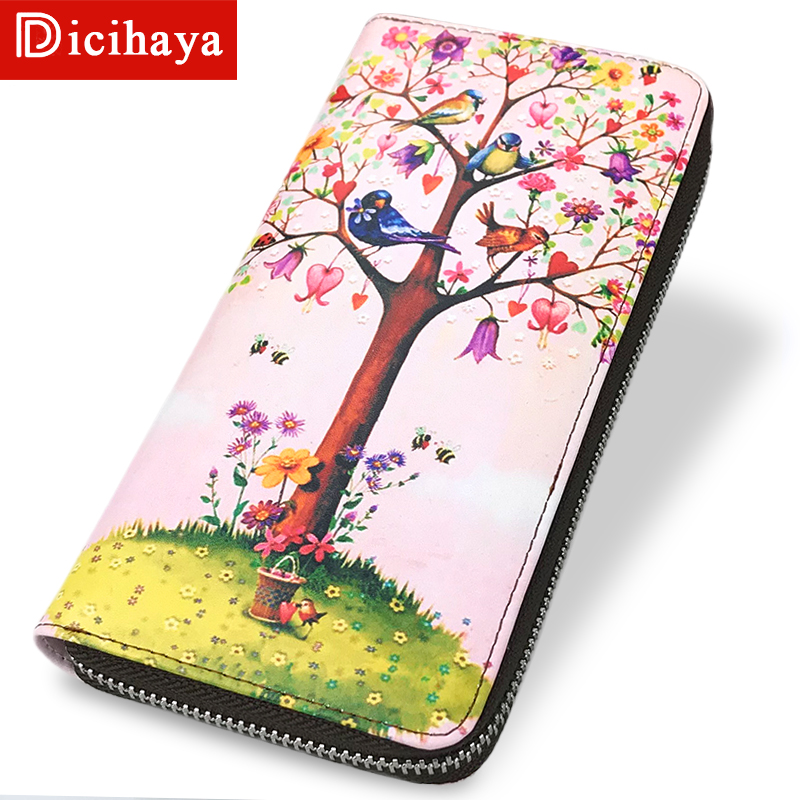 DICIHAYA Long Brand Women Leather Wallet Phone Pocket Purse Wallets Female Card Holder Lady Clutch Coin Bag Carteira Feminina cow leather women purse small casual wallets luxury brand lady coin pocket money bag wallet female purses carteira feminina